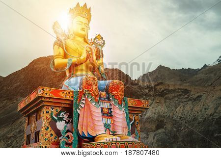 Maitreya Buddha statue near the Diskit Gompa (Diskit Monastery) in the Nubra Valley of Ladakh northern India.