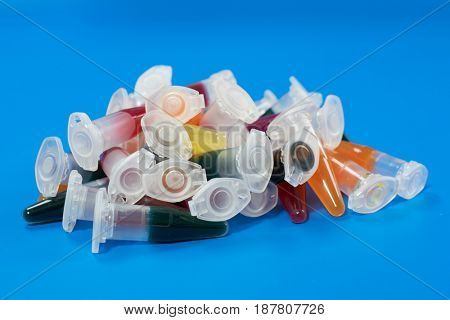 micro centrifuge test tubes with bio samples for microbial testing