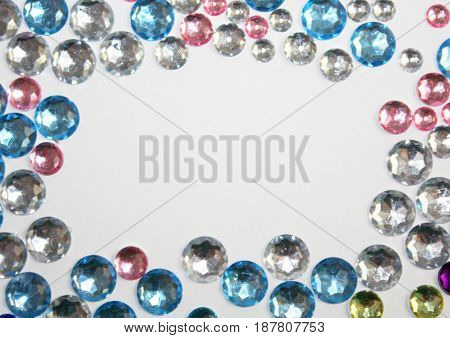 Sparkle crystal glitter gems frame texture background
