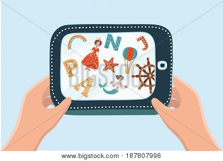 Vector cartoon illustration of hand holding talet. Kid Learning ABC with pc and play game