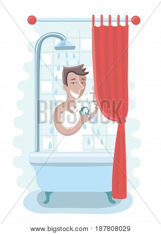 Vector illustration of happy man take shower in the bathroom