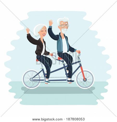 Vector cartoon illustration of elderly couple riding a bicycle