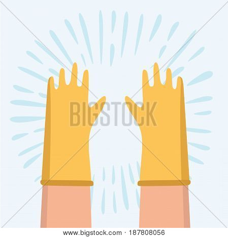 Vector cartoon fun illustration of two hands wearing yellow rubber glove