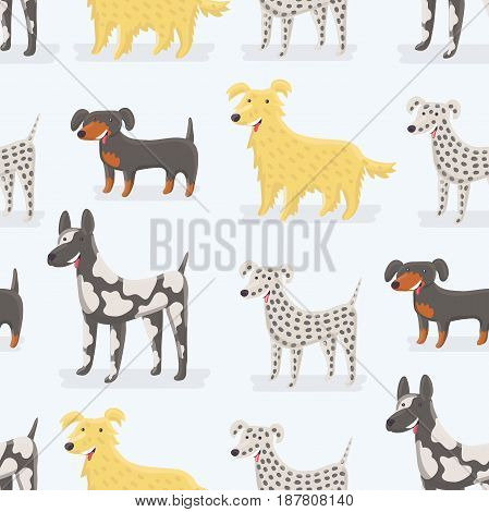 Vector cartoon seamless pattern of different kind of dog