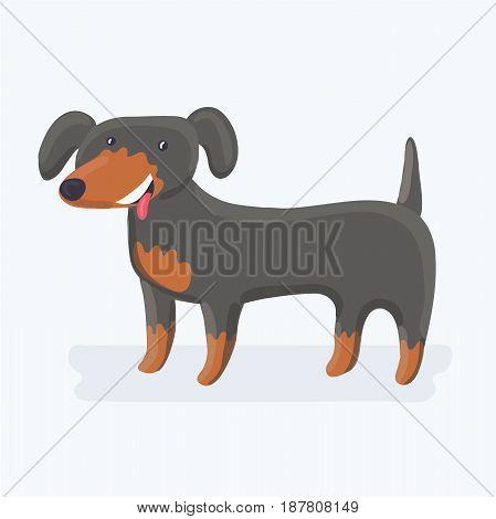 Vector cartoon illustration of cute funny dachshund dog character