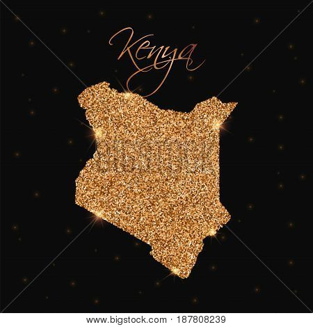 Kenya Map Filled With Golden Glitter. Luxurious Design Element, Vector Illustration.
