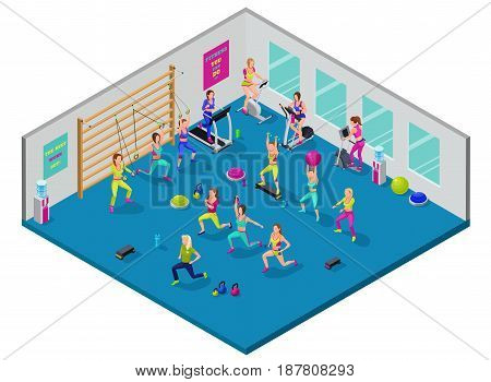 Isometric fitness illustration with group of girls and trainer at sports center  doing workout with dumbells, platforms, fit ball, suspension belts, running elliptical machine, stepper, bicycle