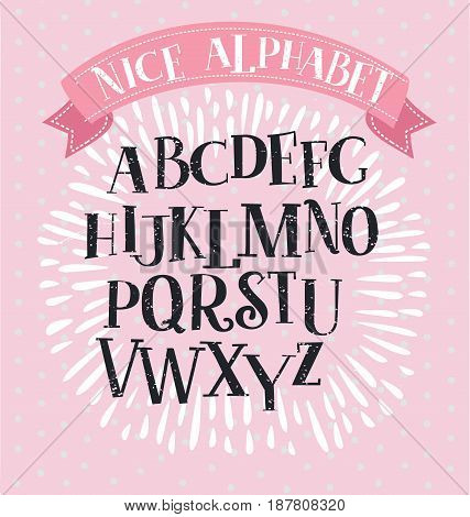 Nice Vector vintage alphabet Slab serif font in historical style. Capital uppercase letters For titles and logos on pink backgound