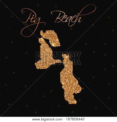 Pig Beach Map Filled With Golden Glitter. Luxurious Design Element, Vector Illustration.