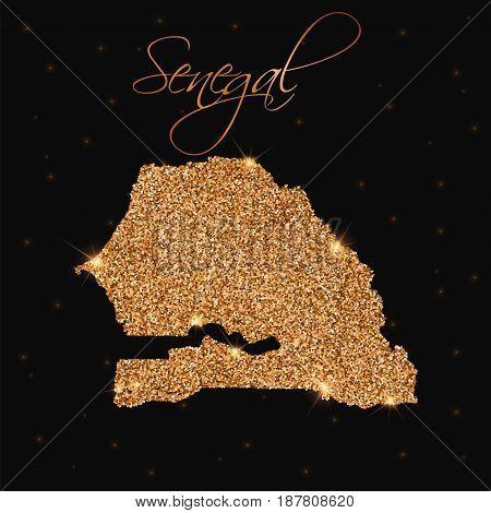 Senegal Map Filled With Golden Glitter. Luxurious Design Element, Vector Illustration.