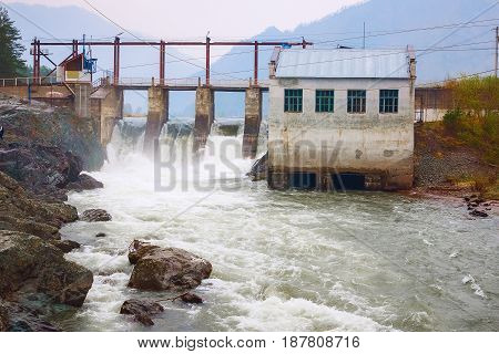 Hydro electric Electricity power plant - powerplant. Mountain Altai