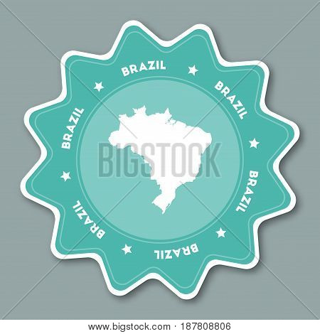 Brazil Map Sticker In Trendy Colors. Star Shaped Travel Sticker With Country Name And Map. Can Be Us