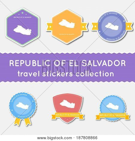 El Salvador Travel Stickers Collection. Big Set Of Stickers With Us State Map And Name. Flat Materia