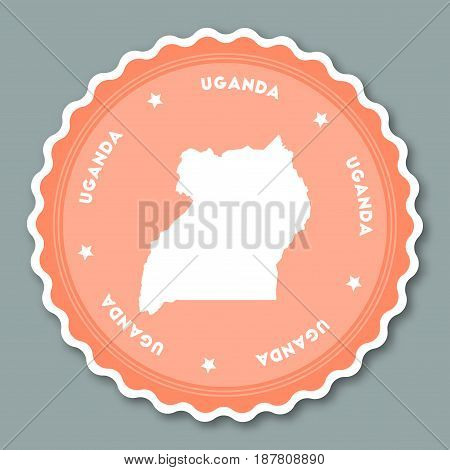 Uganda Sticker Flat Design. Round Flat Style Badges Of Trendy Colors With Country Map And Name. Coun