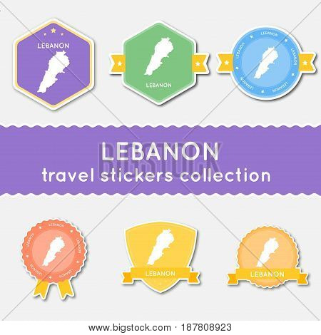 Lebanon Travel Stickers Collection. Big Set Of Stickers With Country Map And Name. Flat Material Sty
