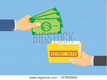 Hand give money for buying a secret file of business competitor. Illustration about betray.