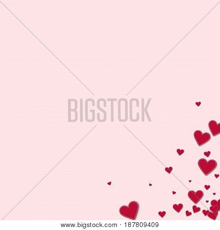 Red Stitched Paper Hearts. Messy Bottom Right Corner On Light Pink Background. Vector Illustration.