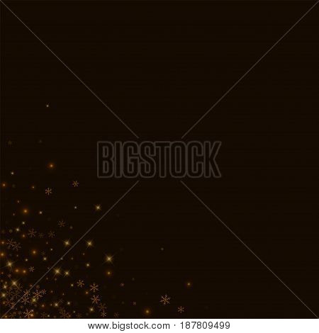 Beautiful Starry Snow. Messy Bottom Left Corner On Black Background. Vector Illustration.