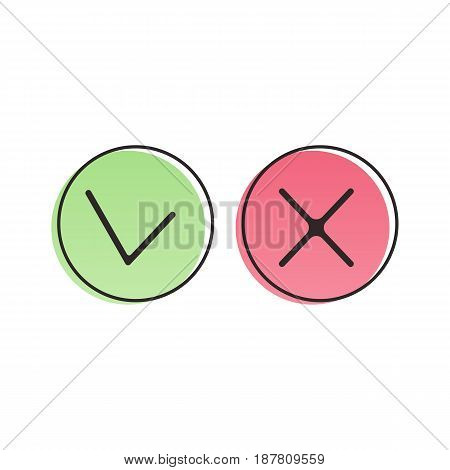 Check mark icons in retro poster style. Green and red checkmarks. Vector illustration isolated on white background.