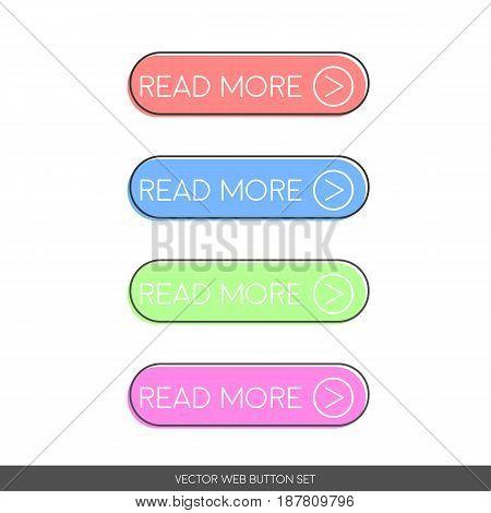 Read More. Button set in retro poster style. Web design vector illustration.