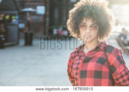 Girl With Afro Hairstyle.