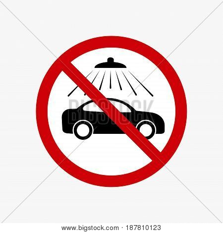 No car wash vector sign. Vector carwash prohibiting symbol.