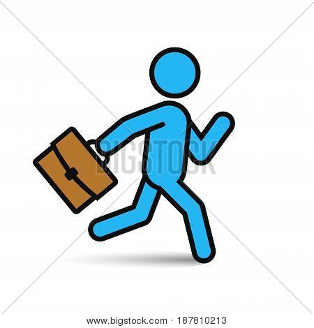 Businessman running with briefcase icon vector color man silhouette.