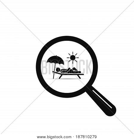 Search beach vacation rest place hotel icon. Vector symbol.
