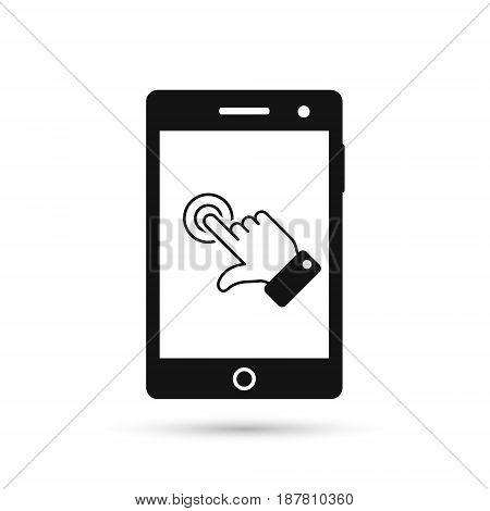 Smart phone touch screen icon. Vector mobile phone touch finger symbol.