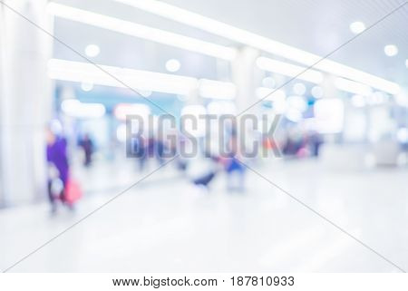 Blurred Background, Hallway Of Transport Station With Bokeh Light