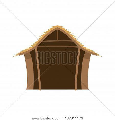 hut wooden manger scenic image vector illustration