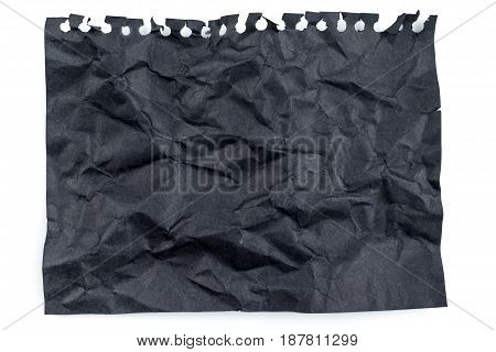 Black Crumpled Note Paper Top View Isolated On White Background, Mock Up For Adding Your Content