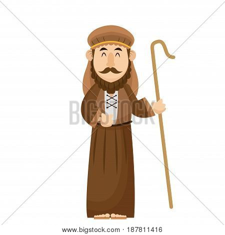 joseph manger character with cane wooden vector illustration