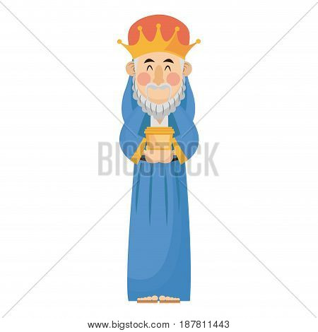 manger wise king gift christianity character vector illustration