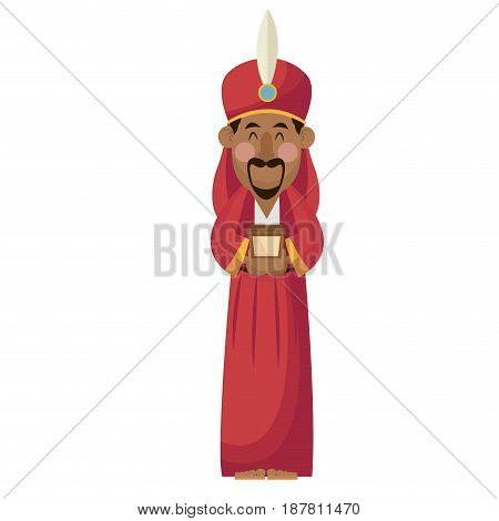 manger wise king gift christianity character vector illustration