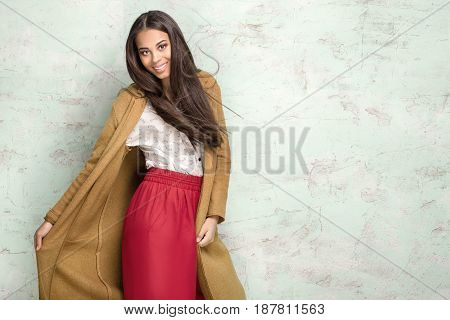 Fashionable Young Woman In Studio.
