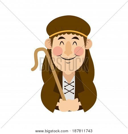 shepherd with stick cartoon character icon graphic design vector illustration