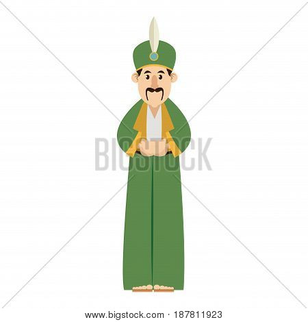 cartoon man manger with traditional clothes vector illustration