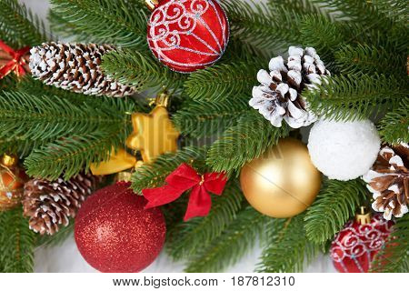 christmas decoration on fir tree branch closeup, gifts, xmas ball, cone and other object on white blank space fur, holiday concept, place for text