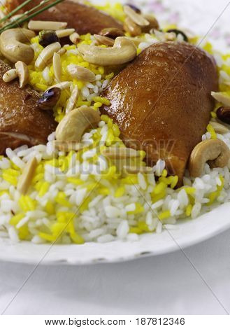 Delicious Egyptian chicken rice. Middle eastern cuisine.