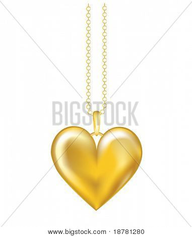 A realistic vector illustration of a gold locket on chain. Isolated on white background. Also available in vector format.