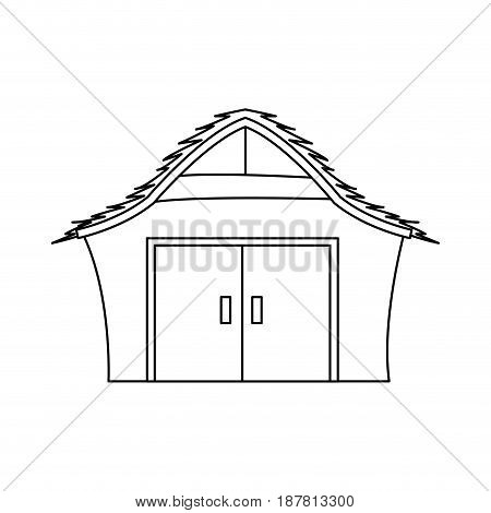 manger house wooden nativity design outline vector illustration