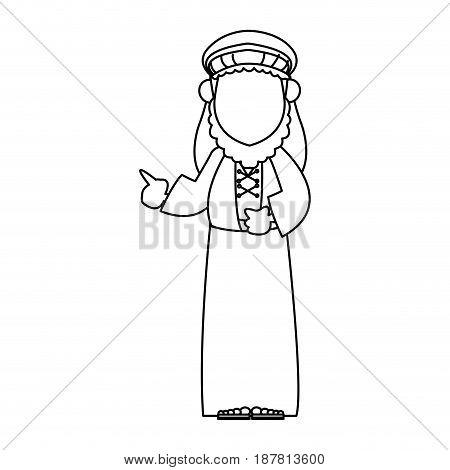 wise king manger character bible outline vector illustration
