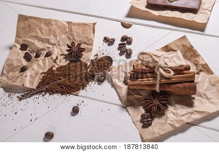 Ground Coffee, Coffee Beans, Silver Spoon, Bunch Of Cinnamon
