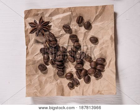 The Coffee Beans On The Kraft Paper