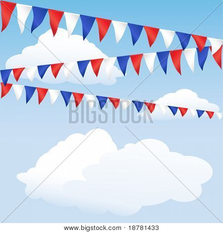 Red white and blue bunting. English or USA colours, suitable for 4th of July or Royal Wedding background. Space for text. EPS10 vector format.
