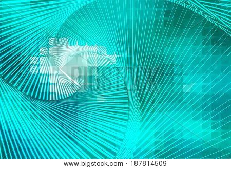 Turquoise Green Glowing Spiral Background