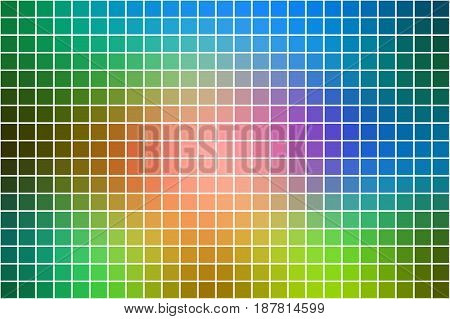 Pink green blue abstract vector square tiles over white mosaic background