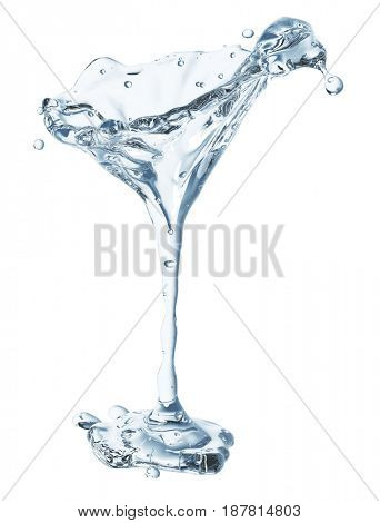 Martini glass with water drops. Isolated on white background. 3d rendering