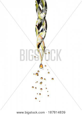 Transparent glass pipette with a Golden liquid dripping. Isolated on white background. 3D rendering